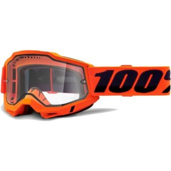 100% Accuri 2 Enduro MTB Goggles Orange/Clear Vented Dual Lens