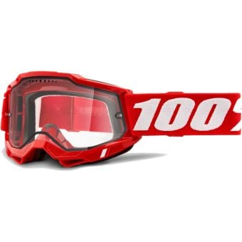 100% Accuri 2 Enduro MTB Goggles Red/Clear Vented Dual Lens