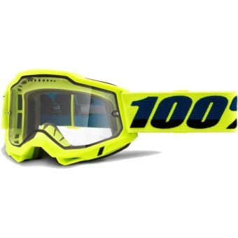 100% Accuri 2 Enduro MTB Goggles Yellow/Clear Vented Dual Lens