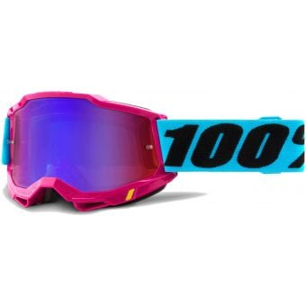 100% Accuri 2 MTB Goggles Lefleur/Mirror Red/Blue Lens