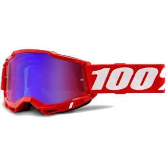100% Accuri 2 MTB Goggles Red/Mirror Red/Blue Lens