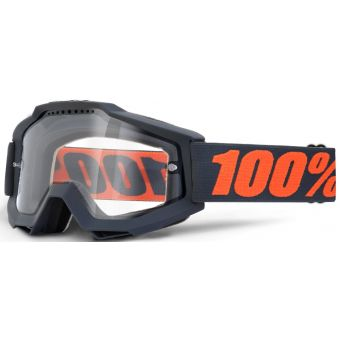 100% Accuri Enduro MTB Goggles Gunmetal (Clear Vented Dual Lens)
