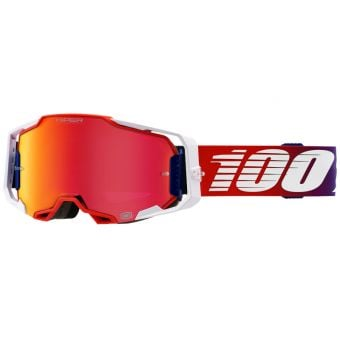 100% Armega Goggles Factory HiPER White/Red(Mirror Red Lens)