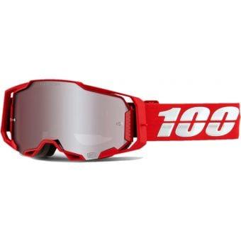 100% Armega MTB Goggles War Red/HiPER Silver Mirror Lens