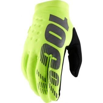 100% Brisker Youth Full Finger Gloves Fluro Yellow