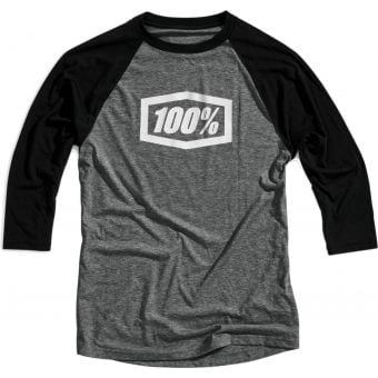 100% Essential 3/4 Tech Tee Grey/Black