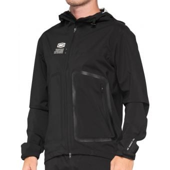 100% Hydromatic Waterproof MTB Hooded Jacket Black 2021