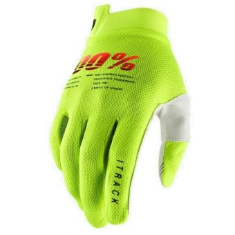 100% Itrack Gloves Fluro Yellow