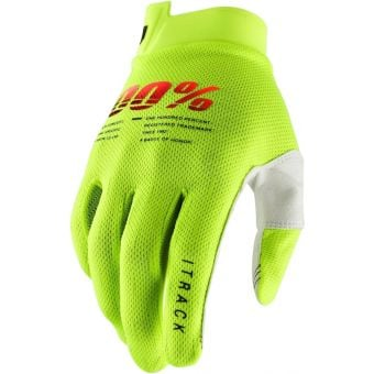 100% Itrack Youth Gloves Fluro Yellow