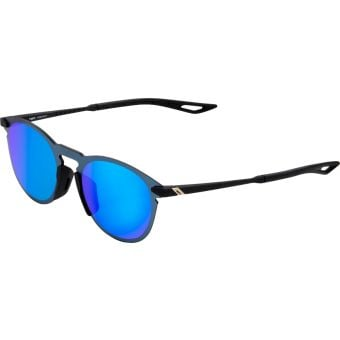 100% Legere Round Sunglasses Soft Tact Black 2021 (Blue Multilayer Mirror Lens)