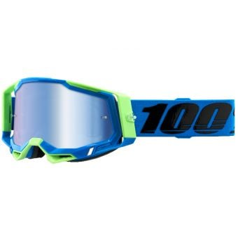 100% Racecraft 2 Goggles Fremont Blue/Green (Mirror Blue Lens)
