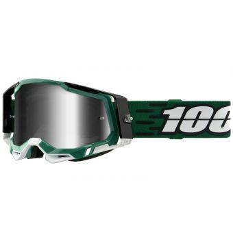 100% Racecraft 2 Goggles Milori Green/Black (Mirror Silver Lens)