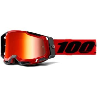 100% Racecraft 2 MTB Goggles Red/Mirror Red Lens