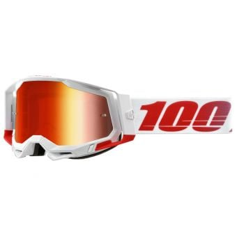 100% Racecraft 2 Goggles St-Kith White/Red (Mirror Red Lens)