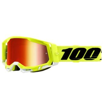 100% Racecraft 2 Goggles Yellow/Black (Mirror Red Lens)