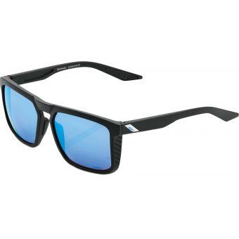 100% Renshaw Sunglasses Matte Black (HiPER Blue Multilayer Mirror Lens)