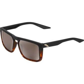 100% Renshaw Sunglasses Soft Tact Black Havana Fade 2021 (HiPER Silver Mirror Lens)