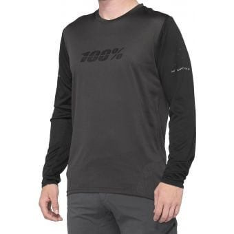 100% Ridecamp Long Sleeve Jersey Black/Charcoal 2020