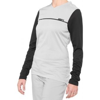 100% Ridecamp Women's Long Sleeve Jersey Grey/Black 2020