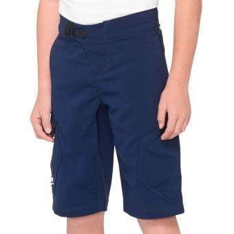 100% Ridecamp Youth MTB Shorts Navy Blue 2021