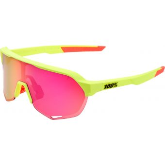 100% S2 Sunglasses Matte Washed Out Neon Yellow 2021 (Purple Multilayer Mirror Lens)