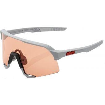 100% S3 Sunglasses Soft Tact Stone Grey (Hiper Coral Lens)