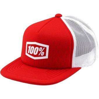 100% Shift Youth Snapback Trucker Cap Red/White Unisize