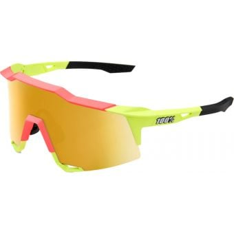 100% Speedcraft Sunglasses Matte Washed Out Neon Yellow 2021 (Flash Gold Mirror Lens)