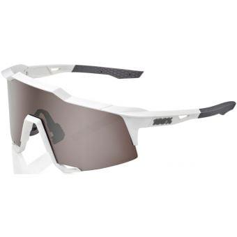 100% Speedcraft Sunglasses Matte White 2021 (HiPER Silver Mirror Lens)