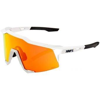 100% Speedcraft Sunglasses Off White (Hiper Red Mirror Lens)