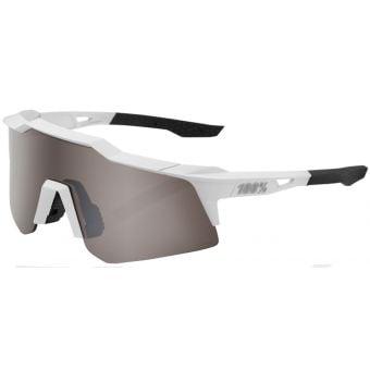 100% Speedcraft XS Sunglasses Soft Tact Matte White (HiPER Silver Mirror Lens)
