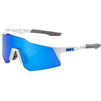 100% Speedcraft XS Sunglasses Matte White/Blue (Blue Multilayer Mirror Lens)