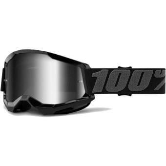 100% Strata 2 MTB Goggles Black/Mirror Silver Lens