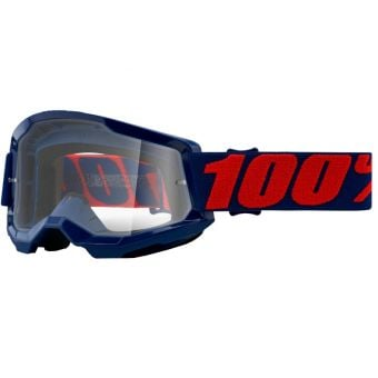 100% Strata 2 Goggles Masego Navy/Red (Clear Lens)
