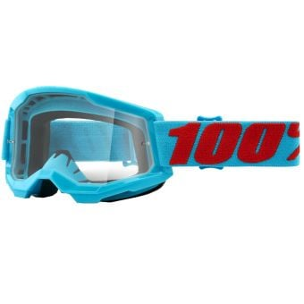 100% Strata 2 Goggles Summit Blue/Red (Clear Lens)