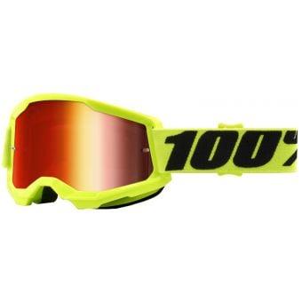 100% Strata 2 Goggles Yellow/Black (Mirror Red Lens)