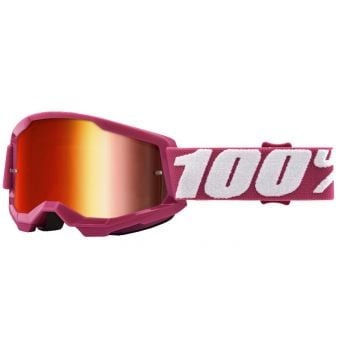 100% Strata 2 Youth Goggles Fletcher Red/White (Mirror Red Lens)