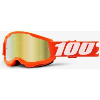 100% Strata 2 Youth MTB Goggles Orange/Mirror Gold Lens