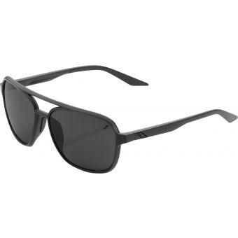 100% Kasia Round Sunglasses Matte Black (Black Mirror Lens)