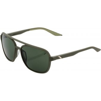 100% Kasia Round Sunglasses Soft Tact Army Green (Grey Green Lens)
