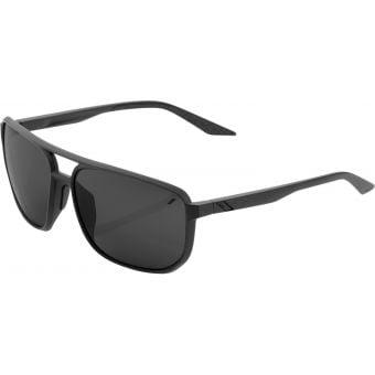 100% Konnor Square Sunglasses Matte Black (Black Mirror Lens)