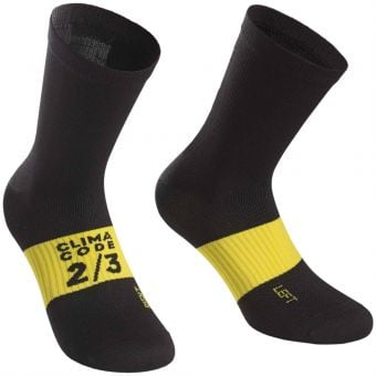 Assos Assosoires Spring Fall Socks Black/Yellow 2020