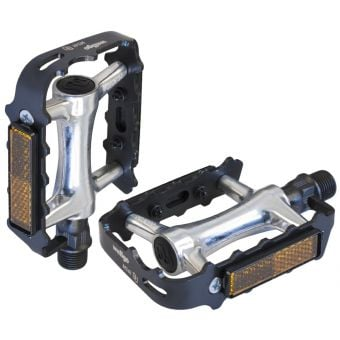 "Azur Streamline 9/16"" Low Profile Alloy Pedals Black/Silver"