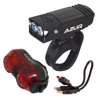Azur 65/30 Lumens USB Front and Rear Light Set