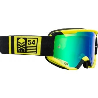 Bell Descender CrossBones MTB Goggles Hi-Viz Yellow/Black with Green Mirror Lens