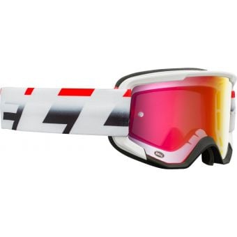 Bell Descender Victory MTB Goggles White/Red/Black with Red Mirror Lens