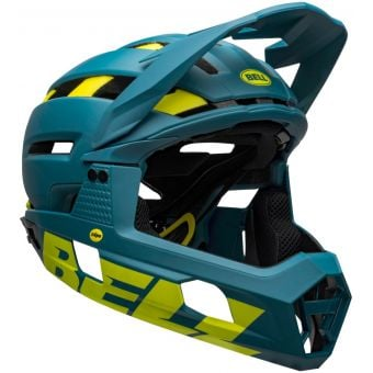 Bell Super Air R MIPS Full Face MTB Helmet Matte Blue/Hi-Vis Yellow