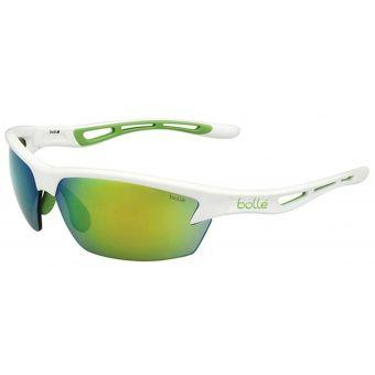 Bolle Bolt Sunglasses Shiny White w/Mod Green Emerald Lens
