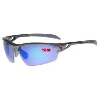 BZ Optics Pho Blue Mirror Bifocal +2.50 Glasses Graphite Frame