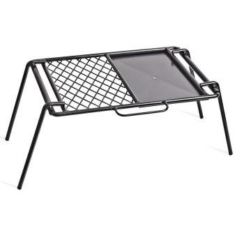 Campfire 46x33cm Steel BBQ Flat Plate + Grill Black